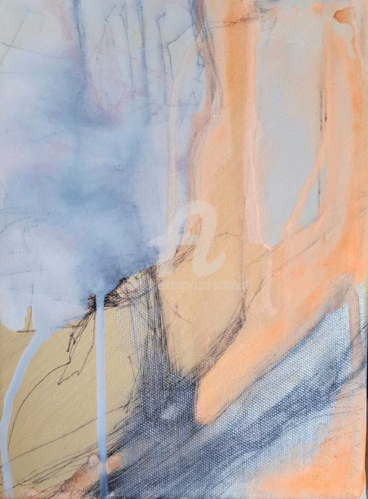 September 2 - Painting,  9.5x7.1x0.8 in, ©2020 by Cori  Schubert -                                                                                                                                                                                                                                                                                                                  Abstract, abstract-570, Abstract Art, orange, shadow, rain