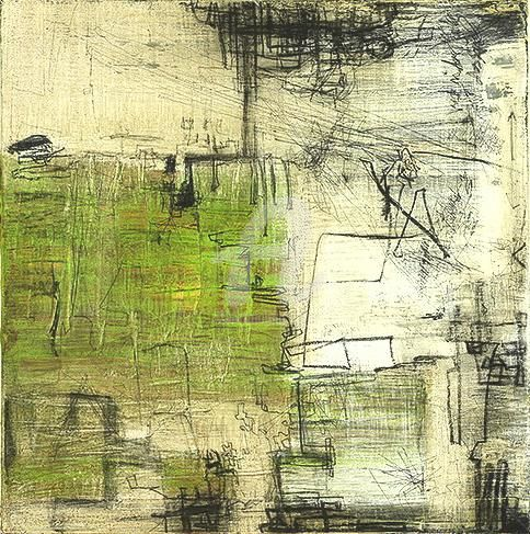 statt_gedanken - Painting,  80x80 cm ©2009 by CORI  SCHUBERT -                            Abstract Art, mixed media, berlin art