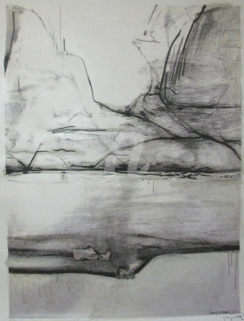 projection - Painting,  120x90 cm ©2011 by CORI  SCHUBERT -                                                            Abstract Art, Canvas, Black and White, projection, black and white, landschaft, landscape, mixedmedia