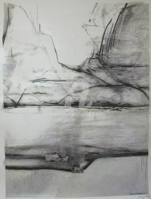 projection - Painting,  47.2x35.4 in, ©2011 by CORI  SCHUBERT -                                                                                                                                                                                                                                                                                                                                                                                                          Abstract, abstract-570, Black and White, projection, black and white, landschaft, landscape, mixedmedia