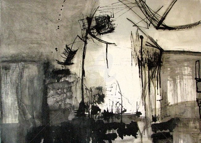 auch berlin...?! - Painting,  80x60 cm ©2011 by CORI  SCHUBERT -                            Contemporary painting, ink, acryl, paper on canvas