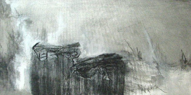 frühe - Painting,  80x40 cm ©2011 by CORI  SCHUBERT -                            Contemporary painting, black and white, coal, acryl on canvas, berlin, winter, fern, früh, early morning, painting, collage, experimentel