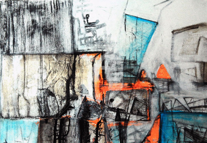 ostkreuz, berlin - Painting,  19.7x27.6 in, ©2011 by CORI  SCHUBERT -                                                                                                                                                                                                                                                                                                                                                          Abstract, abstract-570, stadt, scene, chaos, struktur, stoccato