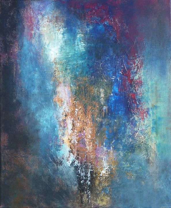 Blue abstract painting corinne ggot