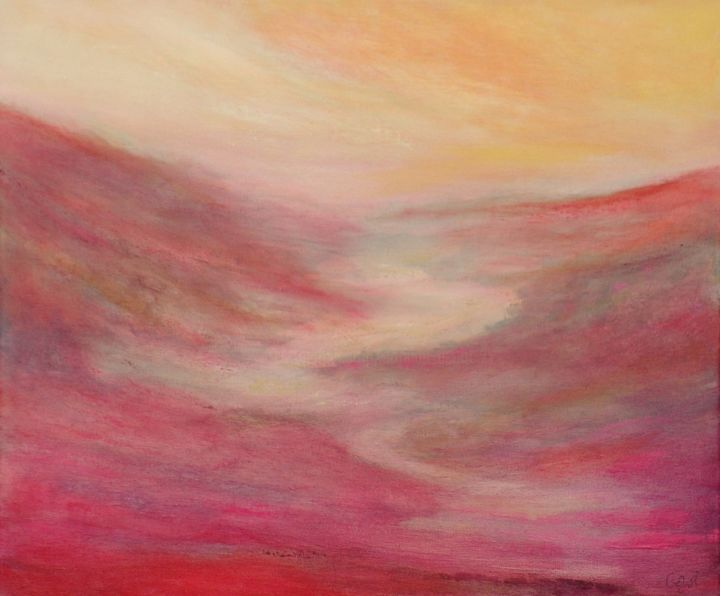 Tableau paysage abstrait rose - Painting,  46x55x2 cm ©2019 by corinne gégot -                                                                                                Abstract Art, Abstract Expressionism, Wood, Cotton, Abstract Art, Landscape, paysage abstrait coloré, paysage couleurs vives, paysage abstrait rose rouge, paysage moderne rose rouge, paysage original coloré, tableau paysage abstrait, paysage contemporain coloré, paysage multicolore, red pink wall art, red pink blush artwork, red pink blush canvas, abstract landscape, colorful landscape, colorful painting, red pink landscape, red pink abstract