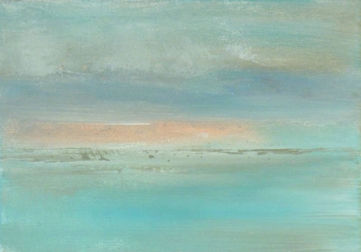 Serene painting - Painting,  7.5x10.6x0.8 in ©2015 by corinne gégot -                                                                                Abstract Art, Minimalism, Contemporary painting, Abstract Art, Seascape, seascape artprint, original artprint, minimal artprint, pastel blue pink, seascape artwork, seascape wall decor, seascape fine art, paysage abstrait, paysage original, original art print, blue pink grey art, marine moderne, tableau marine, paysage marin
