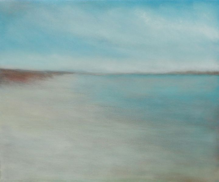 Paysage marin - Painting,  18.1x21.7x0.8 in, ©2019 by corinne gégot -                                                                                                                                                                                                                                                                                                                                                                                                                                                                                                                                                                                                                                                                                                                                                                                                                                                                                                                                                                                                                                                  Figurative, figurative-594, Light, Seascape, Beach, tableau plage sable, tableau plage mer, paysage mer plage, paysage marin côtier, coastal painting, soft coastal, sea beach canvas, serene coastal, soft colors art, serene peaceful art, serene coast sea, sky cloud sea, mer ciel plage, tableau bleu beige, tableau marine, marine moderne, mer plage original