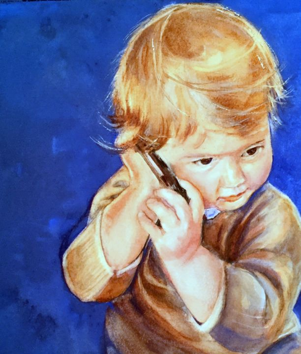"""Painting titled """"Allo Coco ?"""" by Corinne Hentschel, Original Art, Watercolor"""