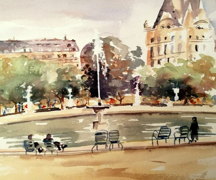 """Painting titled """"Grand bassin des Tu…"""" by Corinne Hentschel, Original Art, Other"""