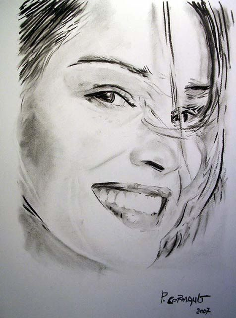 Sharon Stone - Drawing,  25.6x19.7 in, ©2007 by Philippe Cormault -                                                              fusain papier sharon stone