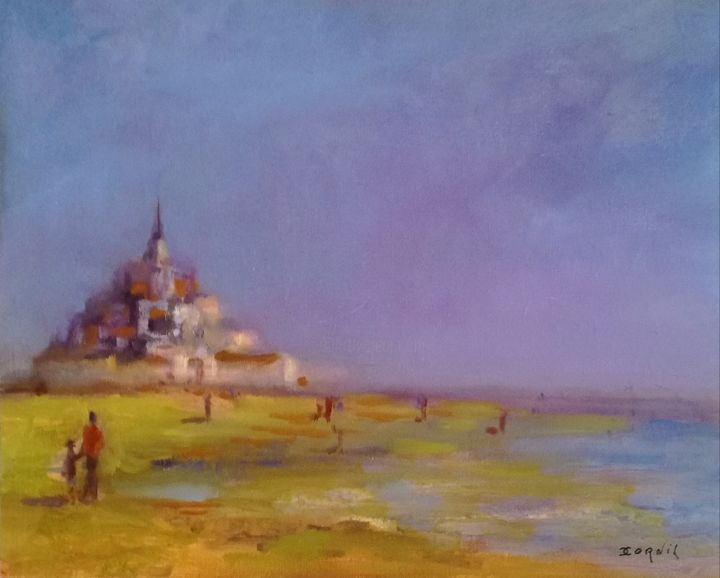 Balade au Mont Saint-Michel... - Painting,  13x16.5x0.4 in, ©2019 by Charles Cornil -                                                                                                                                                                                                                                                                                                                                                              Impressionism, impressionism-603, Seascape, monument, mer, ciel, Personnage