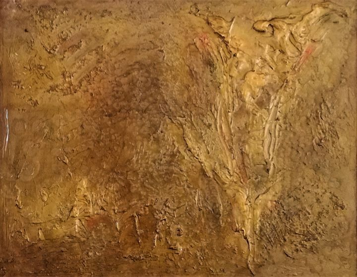 Or en eau... - Painting,  15.8x19.7x0.4 in, ©2020 by Charles Cornil -                                                                                                                                                                                                                                                                                                                                                              Abstract, abstract-570, Abstract Art, moderne, or, relief, résine
