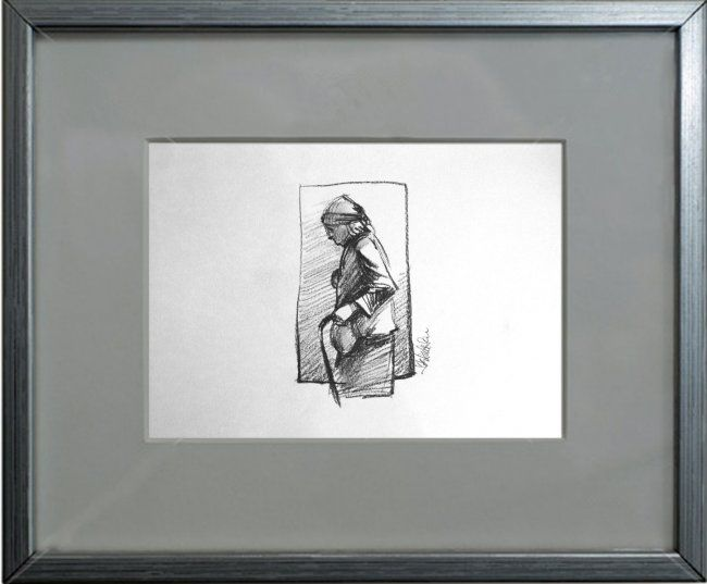"""Drawing titled """"old woman portrait"""" by Cosmin Tudor Sirbulescu, Original Art, Pencil"""
