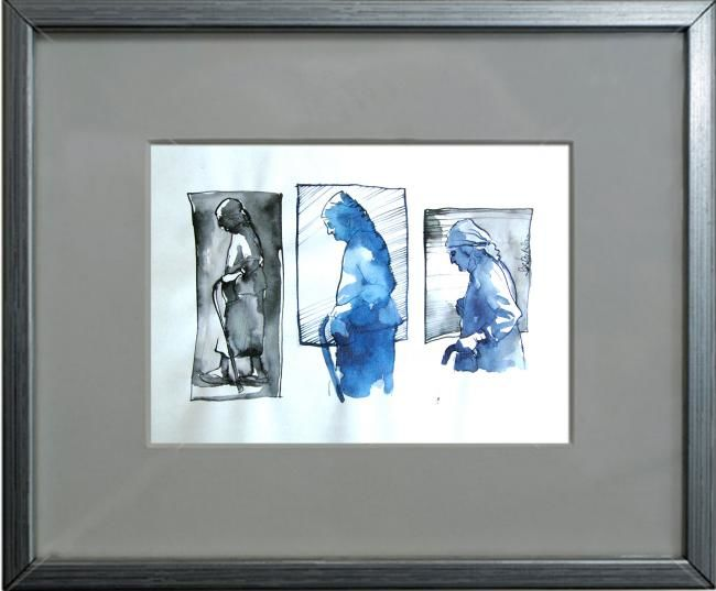 """Drawing titled """"old woman series"""" by Cosmin Tudor Sirbulescu, Original Art, Ink"""