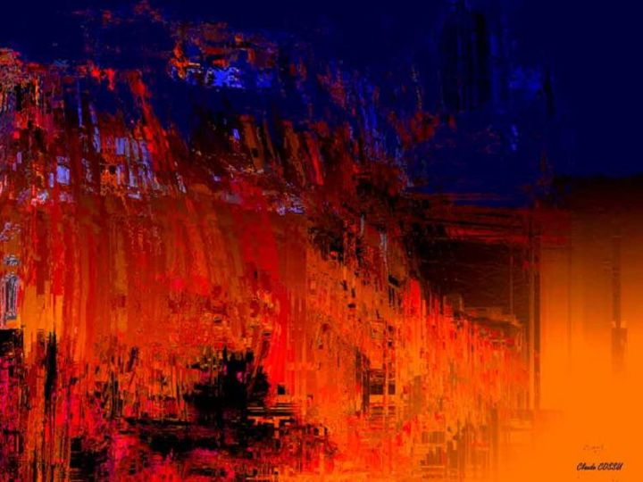 Incendie nocturned'un squatt - Digital Arts, ©2006 by Claude Cossu -