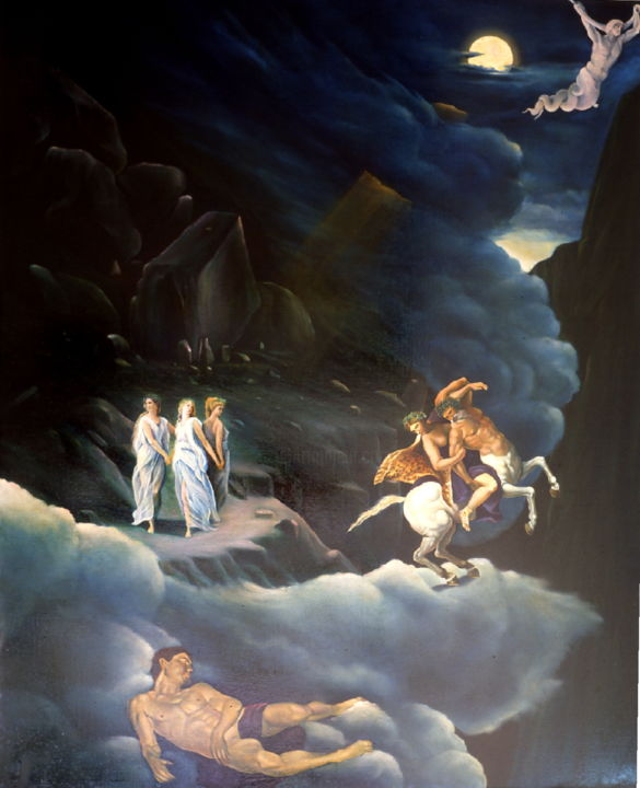 Mythology Painting, oil, classicism, artwork by Costantino Renzo