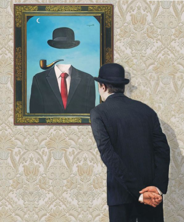 """Painting titled """"MAGRITTE"""" by Costantino Renzo, Original Art, Oil"""