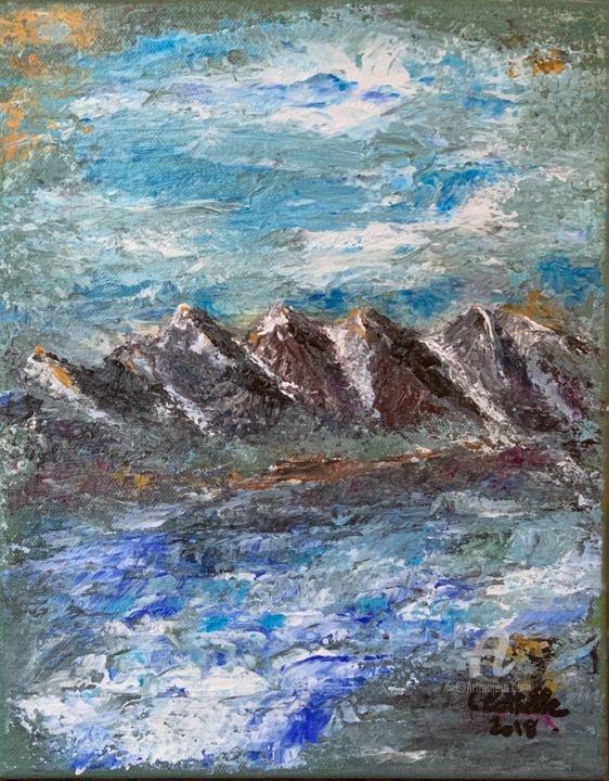 Paysage montagneux.jpeg - Painting,  11.8x9.5x0.6 in, ©2018 by Christelle Cottrelle -                                                                                                                                                                                                                                                                                                                                                                                                                                                                                                                          Landscape, Mountainscape, montagne, paysage, paysage hivernal, neige, paysage neigeux, tableau, nature, acrylique, spatule