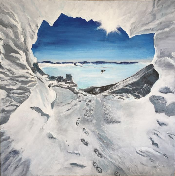 Peinture Beauté de glace - Painting,  50x50x4 cm ©2015 by Christelle Cottrelle -                                                                                                            Impressionism, Realism, Canvas, Seascape, Animals, Nature, Landscape, glace, froid, découverte, exploration, tableau, peinture, acrylique, impressionisme, réalisme