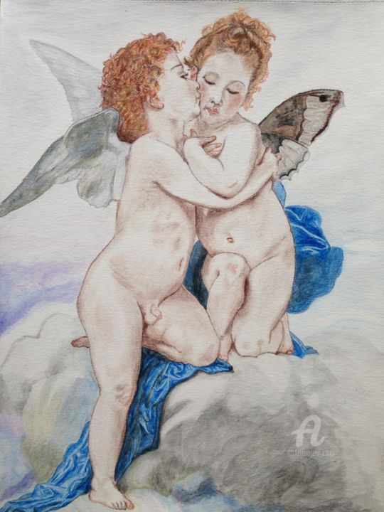 Dessin Bisou d'ange - Drawing ©2015 by Christelle Cottrelle -                                                        Paper, Love / Romance, Classical mythology, anges, bouguereau, dessin, pastels