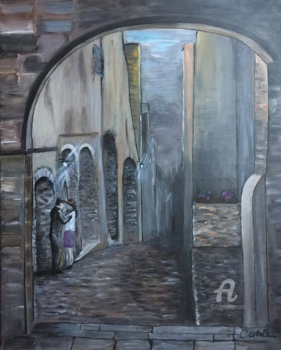 Ruelle déserte - Painting,  50x61x1.5 cm ©2017 by Christelle Cottrelle -                                                                                    Figurative Art, Canvas, Love / Romance, Architecture, Men, corse, couple, rue, ruelle, lever du soleil, solitude, amour, figuratif, réalisme
