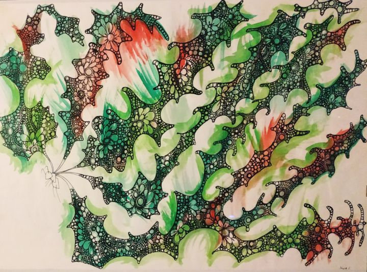"""Painting titled """"DragonBuster"""" by Antonio Angelo, Original Art, Ink Mounted on Glass"""