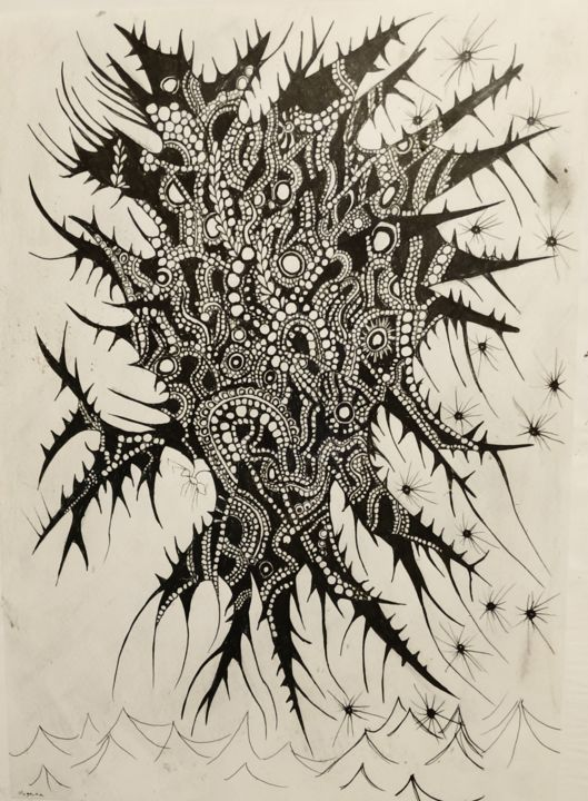 """Drawing titled """"Butterfly God Undine"""" by Antonio Angelo, Original Art, Ink Mounted on Glass"""