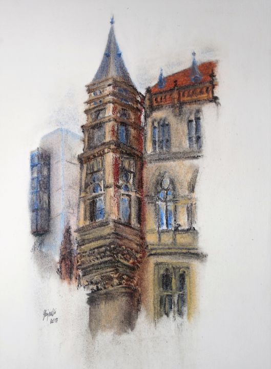 denkmaele-braunschweig-grazyna-g-hajewski-c-pastellzeichnung-pastellpapier-32x24cm-nr-101817.jpg - © 2017 armajeur, Grażyna, Hajewski, pastel, paper, architecture, color, countess, building, minument, brown, fasade, wall Online Artworks