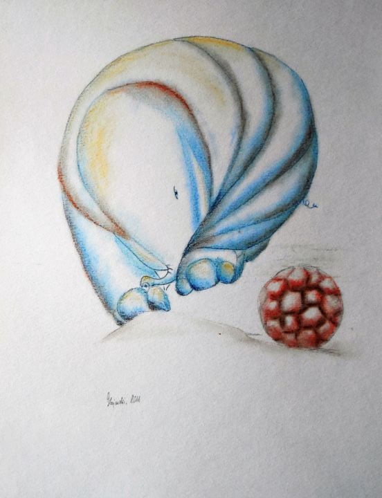 play-with-a-truncated-icosahedron-grazyna-hajewski-countess-pastel-drawing-pastel-papier-32x24cm-n-112517-11-3.jpg - Drawing,  32x24 cm ©2011 by countess -                                                                    Abstract Art, Illustration, Animals, Nature, Grażyna, Hajewski, drawing, pastel, pastel pen, paper, art, pastel paper, animals, elephant, majeur, nature, abstract, illustration, blue, rosa, white