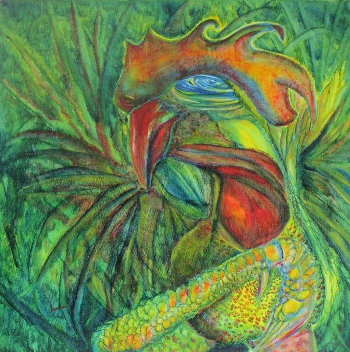 rooster countess oil canvas 40x40x2cm no 120019 - © 2019 art, rooster, culture, countess, canvas, painting, gallery, green, yellow, red, orange, blue, multicolor, Grażyna, Hajewski Online Artworks