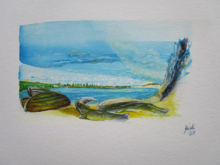 disorientation countess watercolor paper - Painting,  24x32 cm ©2019 by countess -                                                                                                        Abstract Art, Realism, Fish, Landscape, Mountainscape, Seascape, Seasons, art, countess, landscape, seascape, mountainscape, paper, watercolor, Grażyna, Hajewski, artmajeur, environment, live at sea, protection of live at sea, protection of the environment, yellow, green, blue, brown, white, grey