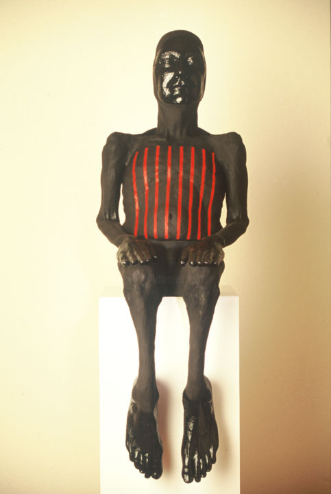 """Sculpture titled """"vessel; humanoid po…"""" by Suzanne Waters, Original Art, Ceramics"""