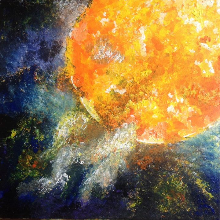 Explosion solaire - Painting,  50x50 cm ©2017 by Courcelle -