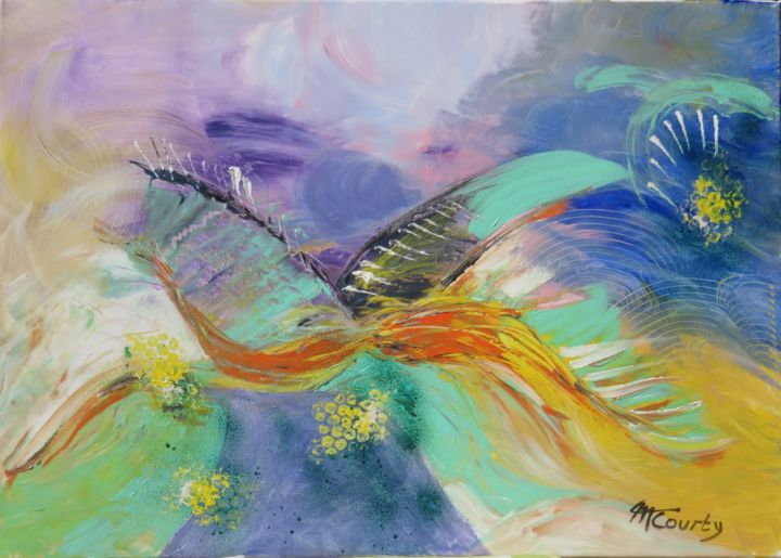 Vol d'oiseau - Painting,  19.7x27.6x0.6 in ©2019 by Myriam Courty -                                            Abstract Art, Abstract Art, oiseau, ciel