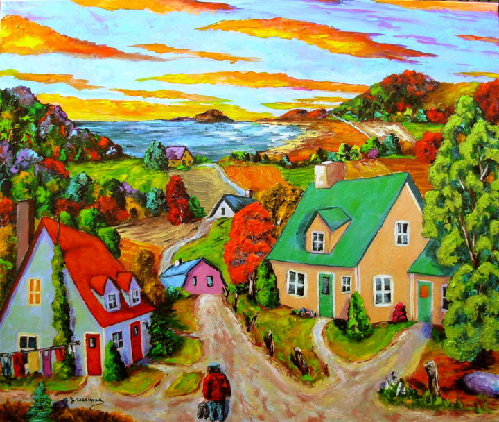 Promenade d'Octobre (Couleurs de l'âme) - Painting,  20x24x0.75 in ©2008 by Jean Cousineau -                                                                                                                        Contemporary painting, Figurative Art, Naive Art, Canvas, Landscape, Tree, Colors, Mountainscape, Automne, couleurs, paysage du Québec, Acrylique,  lumière, aube, crépuscule