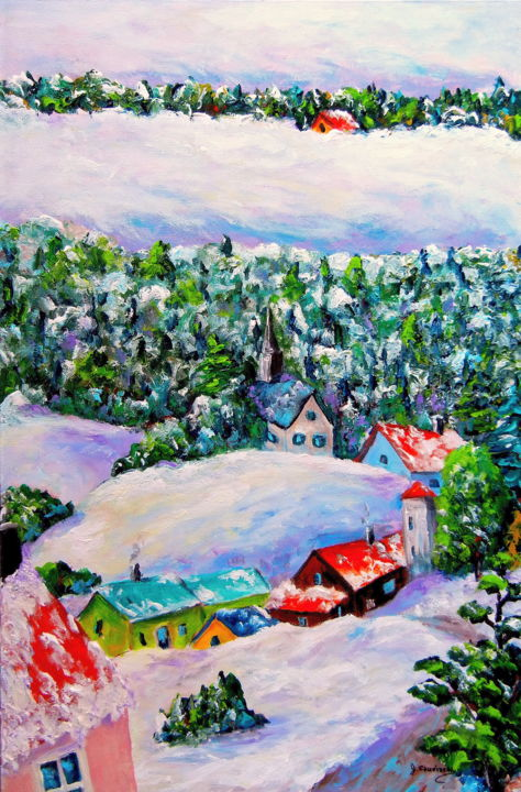 Village enneigés I (Couleurs de l'Âme) - Painting,  24x16x2 in ©2012 by Jean Cousineau -                                                                                                                                                Environmental Art, Art Deco, Figurative Art, Contemporary painting, Canvas, Colors, Fantasy, Light, Home, Landscape, neige. hiver, acryliue, paysage, montagnes, village, imagination, Québec