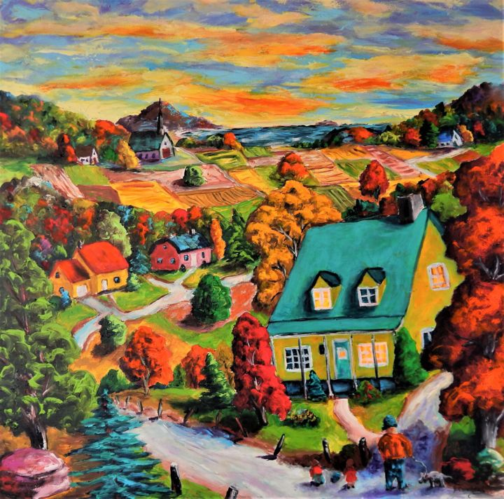Balade au coloris d'automne (Couleurs de l'Àme) - Painting,  30x30x2 in ©2016 by Jean Cousineau -                                                            Figurative Art, Canvas, Landscape, automne, couleurs, québec, paysages, Charlevoix, acrylique, orange, rouge
