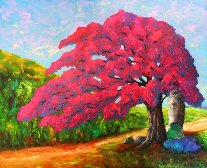 Le majestueux rouge iridescent (Couleurs de l'Àme) - Painting,  24x30x2 in ©2014 by Jean Cousineau -                                                                                                                                                                        Art Deco, Figurative Art, Naive Art, Art Nouveau, Expressionism, Contemporary painting, Canvas, Tree, Colors, Light, Nature, Landscape, arbre, couleurs, rouge, acrylique, iridescent, imaginaire, culte, roches, inspiration