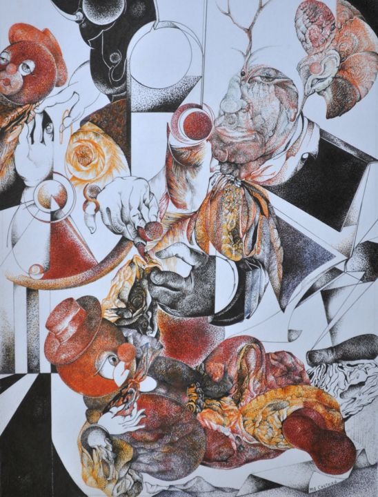 """Drawing titled """"Le grand Couturier"""" by Maryse-Anne Couteau, Original Art, Ink Mounted on Other rigid panel"""