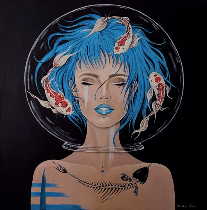 """Painting titled """"Pisces"""" by Alisa Covatari, Original Art, Acrylic"""
