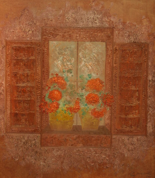 The old open window with red flowers - Painting,  70x60x2 cm ©2012 by Cozmin Movilă -                                                                                                                                                                                    Classicism, Contemporary painting, Expressionism, Figurative Art, Impressionism, Modernism, Symbolism, Canvas, Botanic, Flower, Garden, Home, Nature, botanic, flowers, garden, home, nature, landscape, window, red, colors, oil
