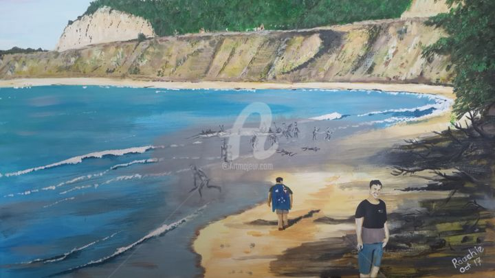 Anzac Cove and the pilgrims of the 21st Century - Painting,  23.6x35.4 in, ©2017 by Roachie - The Gallipoli Artist -                                                                                                                                                                                                                                                                                                                                                                                                                                                                                                                                                                                                                                                                                  Figurative, figurative-594, Beach, Culture, Education, History, Landscape, Gallipoli, Gallipoli Art, Anzac Cove, Craig Roach, Roachie, Anzac pilgrims, Art and War
