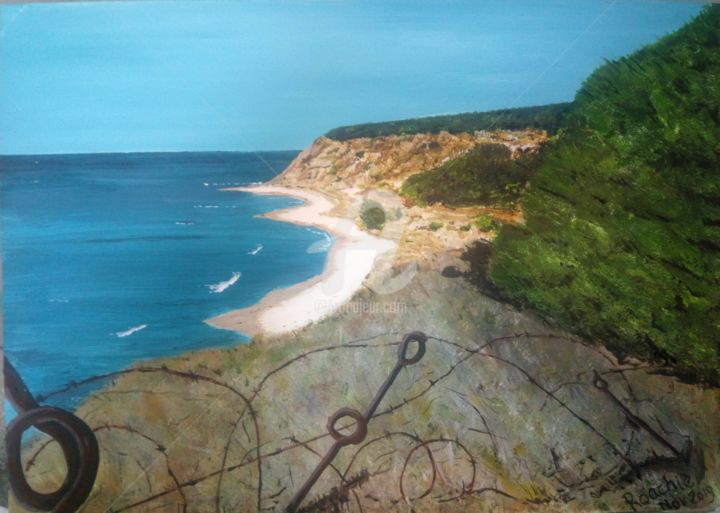 The Wire that still protects W beach - Painting,  13.8x19.7 in, ©2019 by Roachie - The Gallipoli Artist -                                                                                                                                                                                                                                                                                                                                                                                                                                                                                                                                                                                                                                                                                  Impressionism, impressionism-603, Agriculture, Beach, History, Landscape, Nature, #WBeach, #Capehelles, Gallipoli Art, Gallipoli Roachie, W Beach, W Beach barbed-wire, #WW1barbed-wire