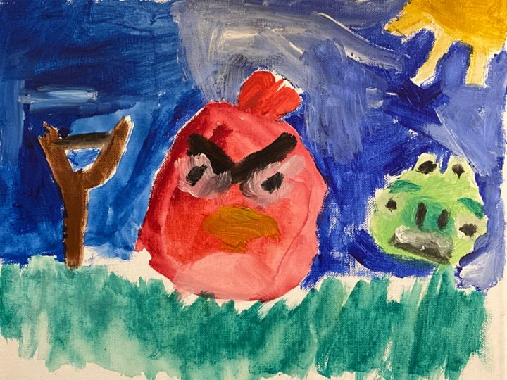 """Painting titled """"Angry Bird and Pig"""" by Jessica Crazy Crafts Art, Original Art, Acrylic"""