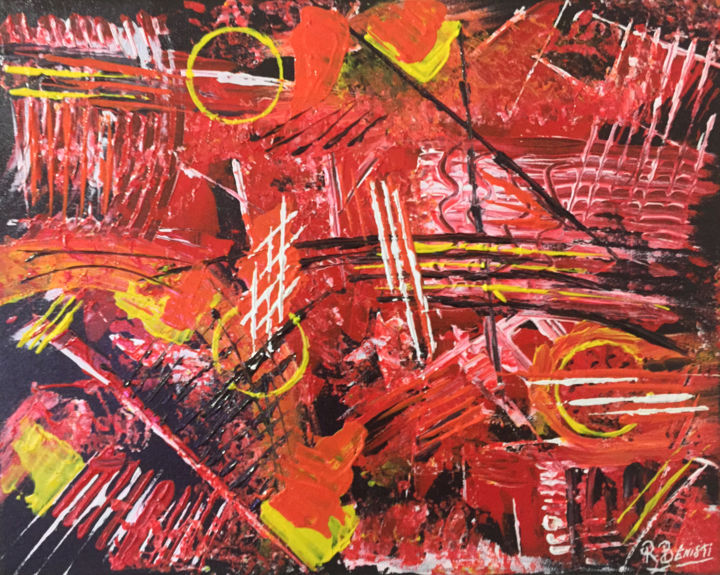 Magie - Painting,  15.8x19.7x0.8 in, ©2018 by Richard Benisti -                                                                                                                                                                                                                                                                                                                      Abstract, abstract-570, Cotton, Love / Romance, Creation Richard BENISTI, Peintre Abstrait BENISTI