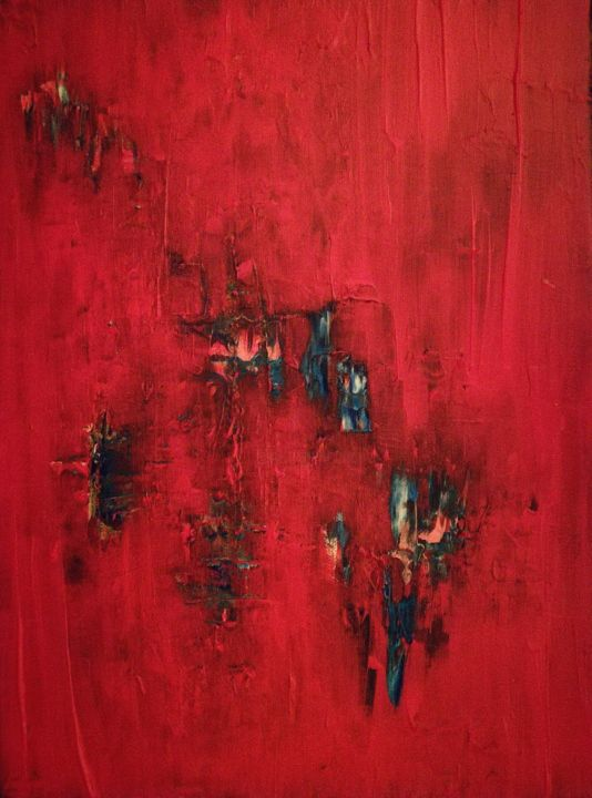 apparence 5 - Painting,  15.8x11.8 in, ©2018 by Thomas Gautier -                                                                                                                                                                                                                                                                                                              Abstract, abstract-570, abstrait, peinture, acrylique, rouge