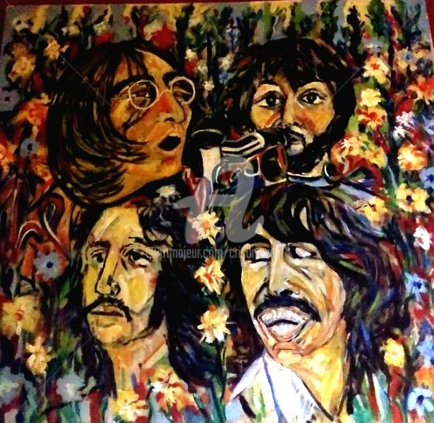 the-beatles-ll.jpg - Painting, ©2018 by Cristina Vidal -