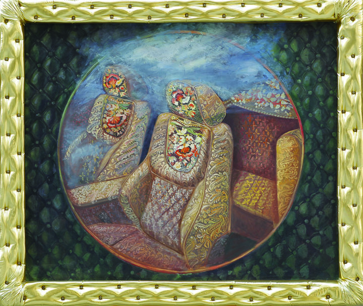 chesterfield - Painting,  100x120x5 cm ©2010 by Cristina Vasiliu -                                                            Surrealism, Canvas, Fantasy, bentley, clasic, embroidery