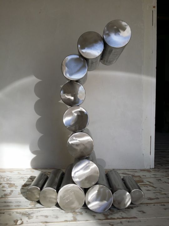 Pipe stool - Sculpture,  11.8x28.4 in, ©2012 by Cristo Ash -                                                                                                                                                                                                                                                                                              Stainless Steel, stool, tabouret, designstool, modernstool, interior