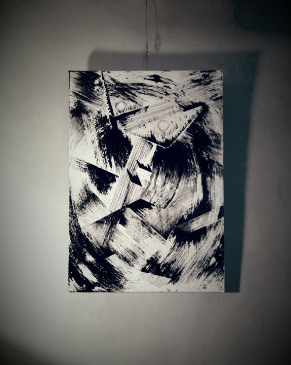 Trouble de nuit - Painting,  39.4x27.6 in, ©2015 by Cristo Ash -                                                                                                                                                                                                                                                                                                                                                                                                                                                          Abstract, abstract-570, Canvas, Wood, Abstract Art, Black and White, peinture acrylique, artiste peintre 2017, artiste émergeant